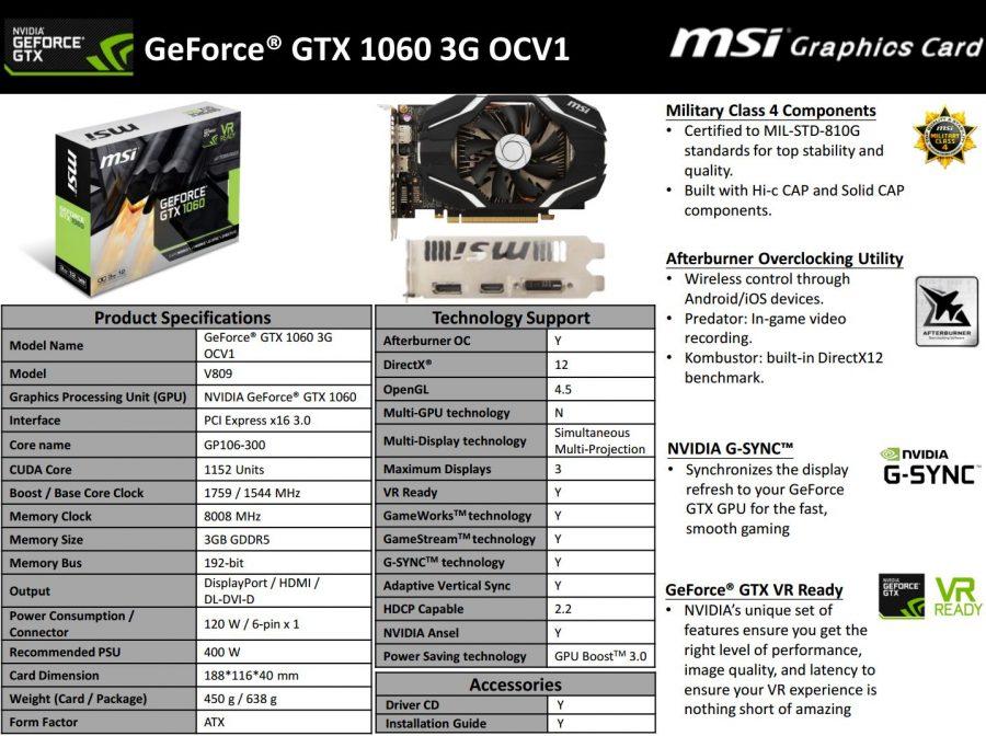 MSI GTX 1060 3GG OCV1