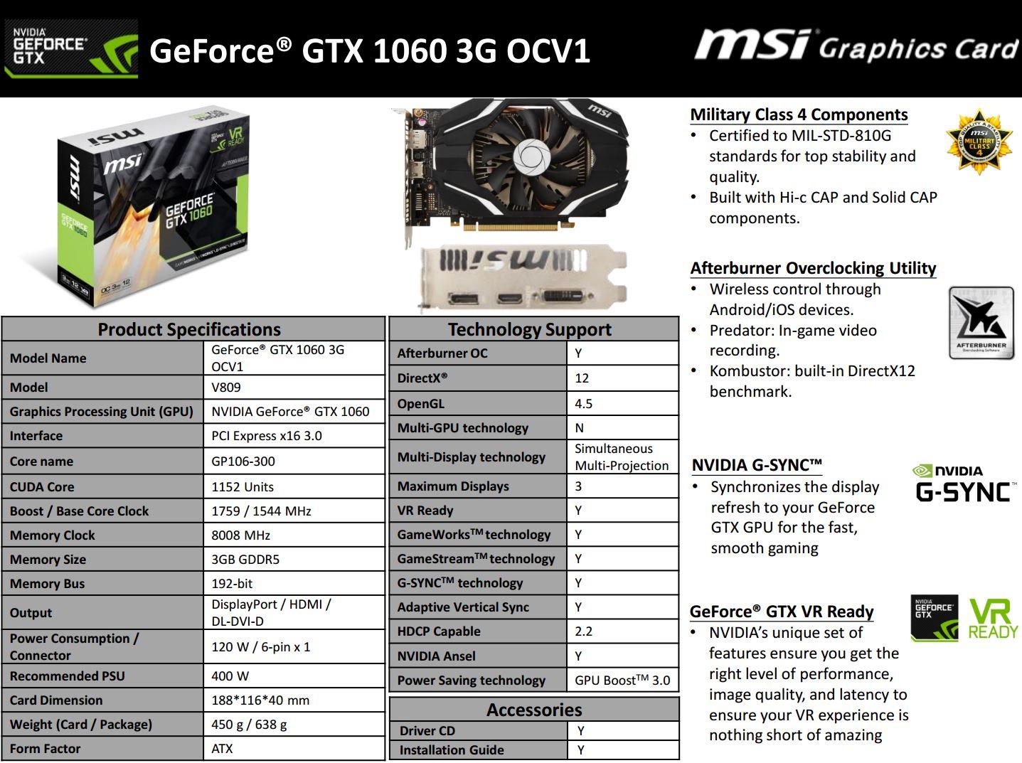 MSI introduces GeForce GTX 1060 3GB OC V1 | VideoCardz com