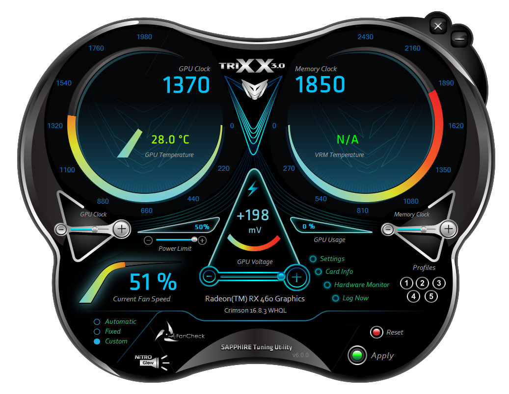 SAPPHIRE Radeon RX 460 NITRO 4GB TRIXX OC