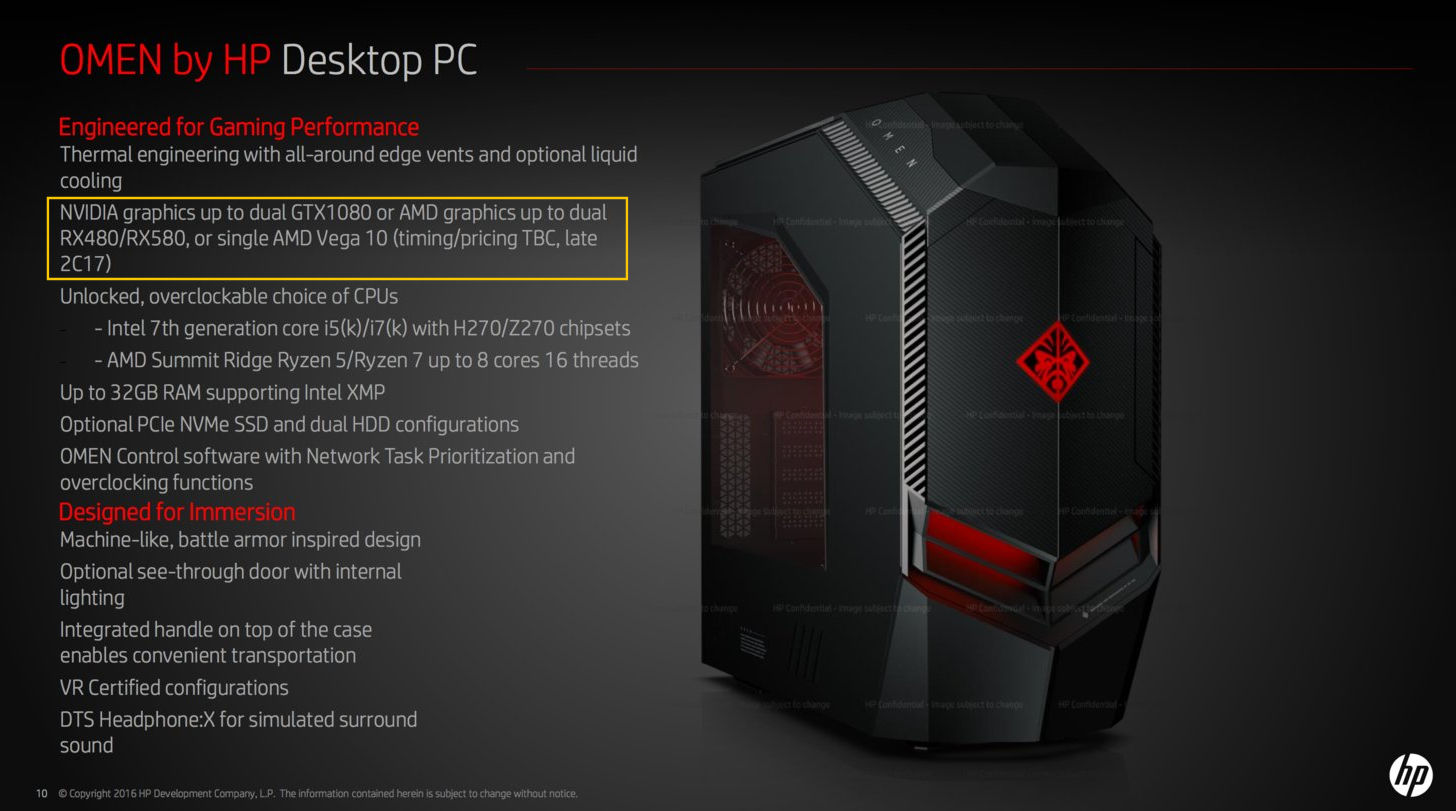 Hp omen desktop pc to ship with amd vega 10 for Portent vs omen