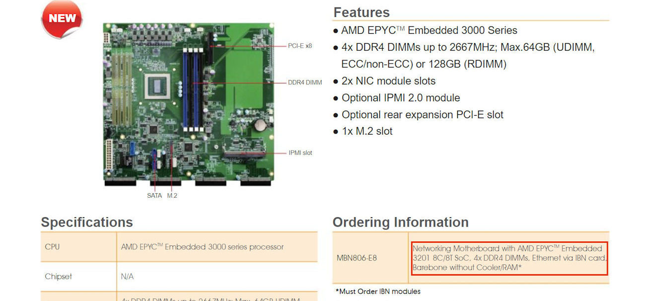 First motherboard for AMD Snowy Owl EPYC Embedded 3000 series