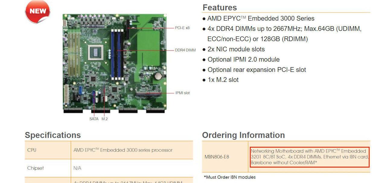 First motherboard for AMD Snowy Owl EPYC Embedded 3000