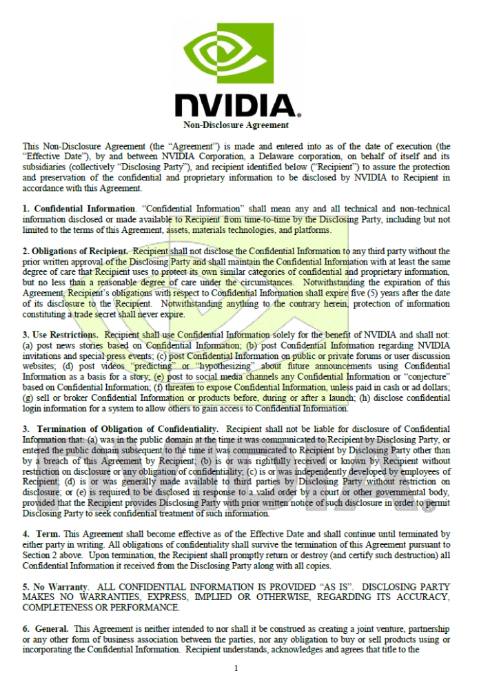 Nvidias New Non Disclosure Agreement Leaked Videocardz