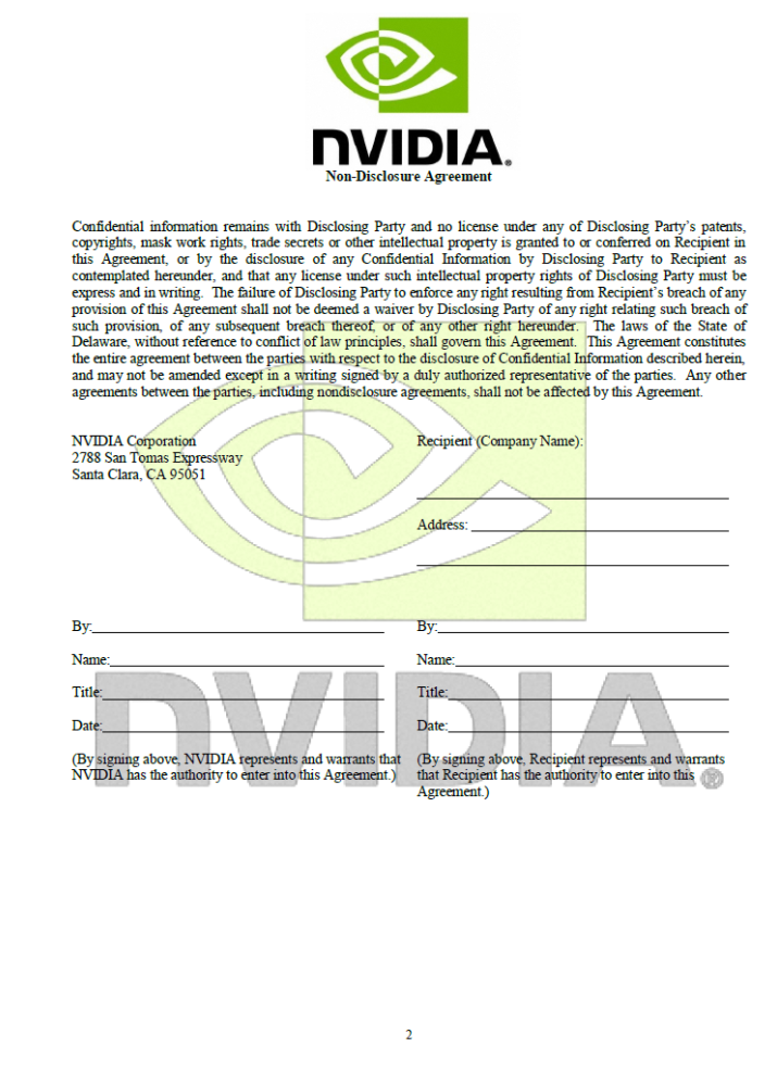 Nvidia S New Non Disclosure Agreement Leaked Videocardz Com