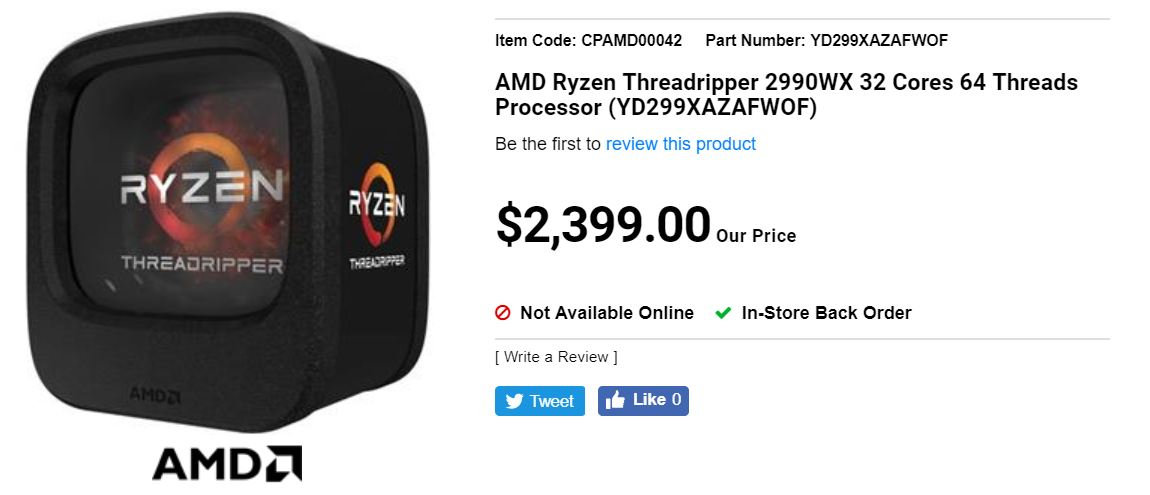 Amd Ryzen Threadripper 2990x Listed For 2400 Canadian Dollars Videocardz Com