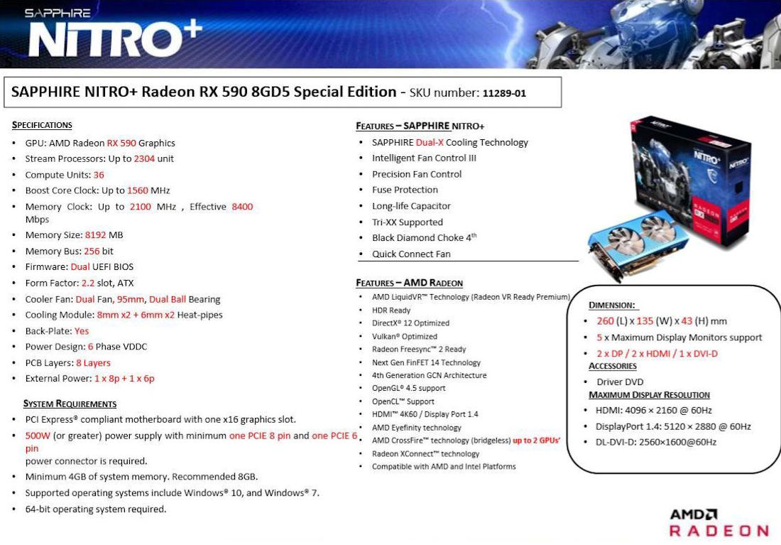 Sapphire Radeon RX 590 NITRO+ Special Edition full specs leaked