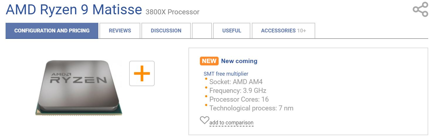 Amd Ryzen 9 3800x Matisse Listed With 16 Cores And 125w Tdp Videocardz Com