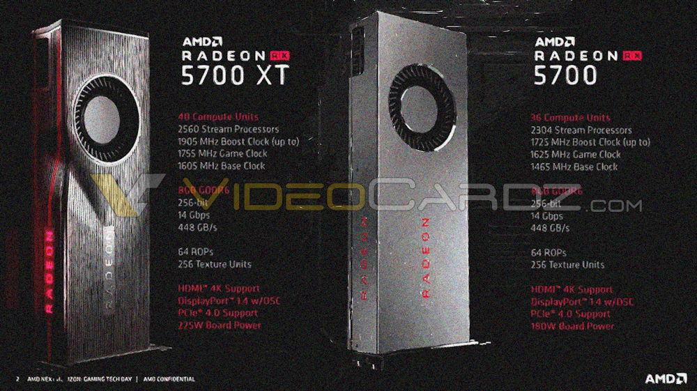 AMD Radeon RX 5700 XT and Radeon RX 5700 final specs | VideoCardz com