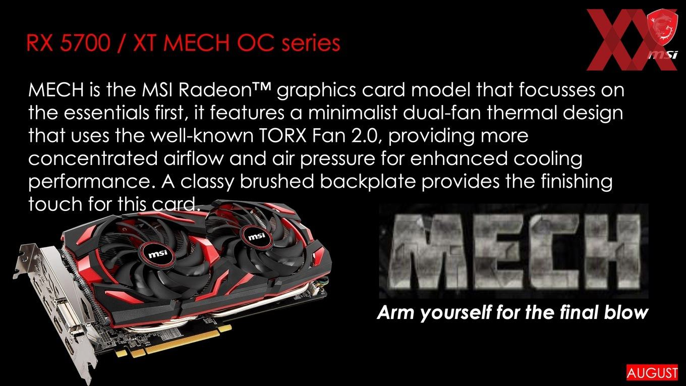 MSI to launch seven custom Radeon RX 5700 graphics cards