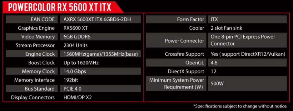Powercolor Radeon RX 5600 XT ITX 6GB AXRX 5600XT ITX 6GBD6-2DH