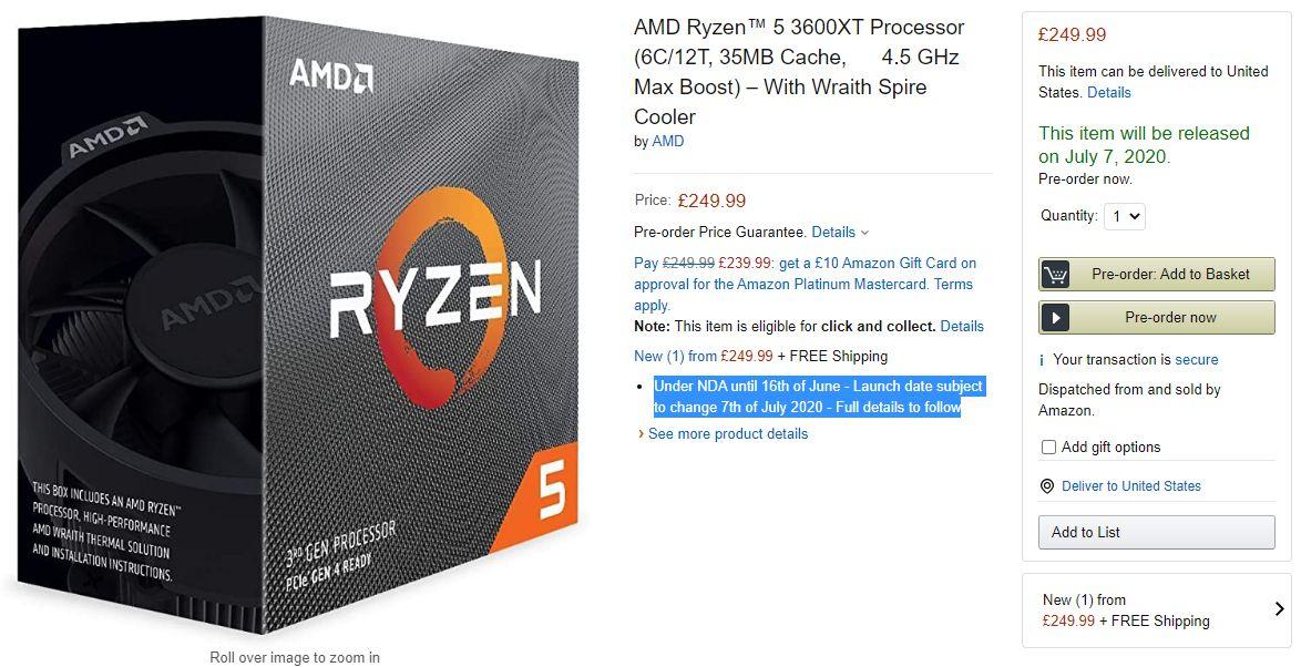 Amazon Lists Amd Ryzen 3000xt Series Launching July 7th Videocardz Com