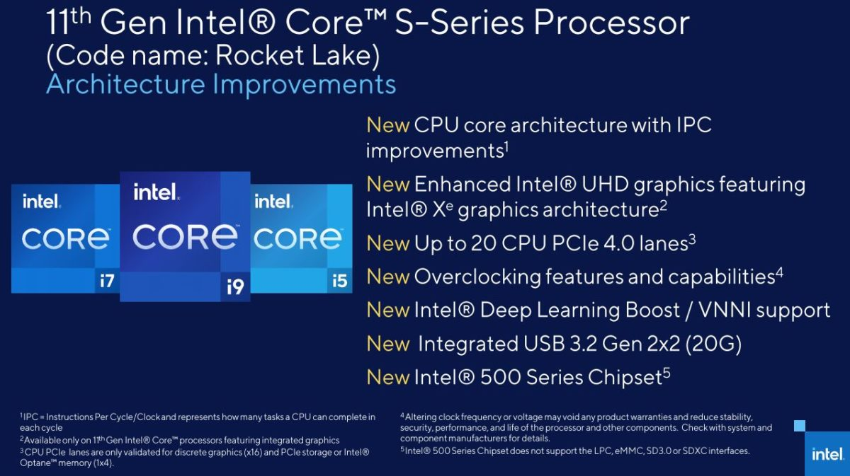 """Intel confirms 11th Gen Core """"Rocket Lake-S"""" features Cypress Cove (Ice Lake) core architecture"""