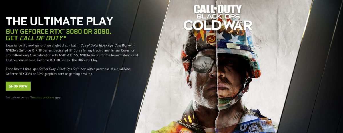 NVIDIA bundles Call of Duty Black Ops Cold War with GeForce RTX 3080 and RTX 3090 graphics cards
