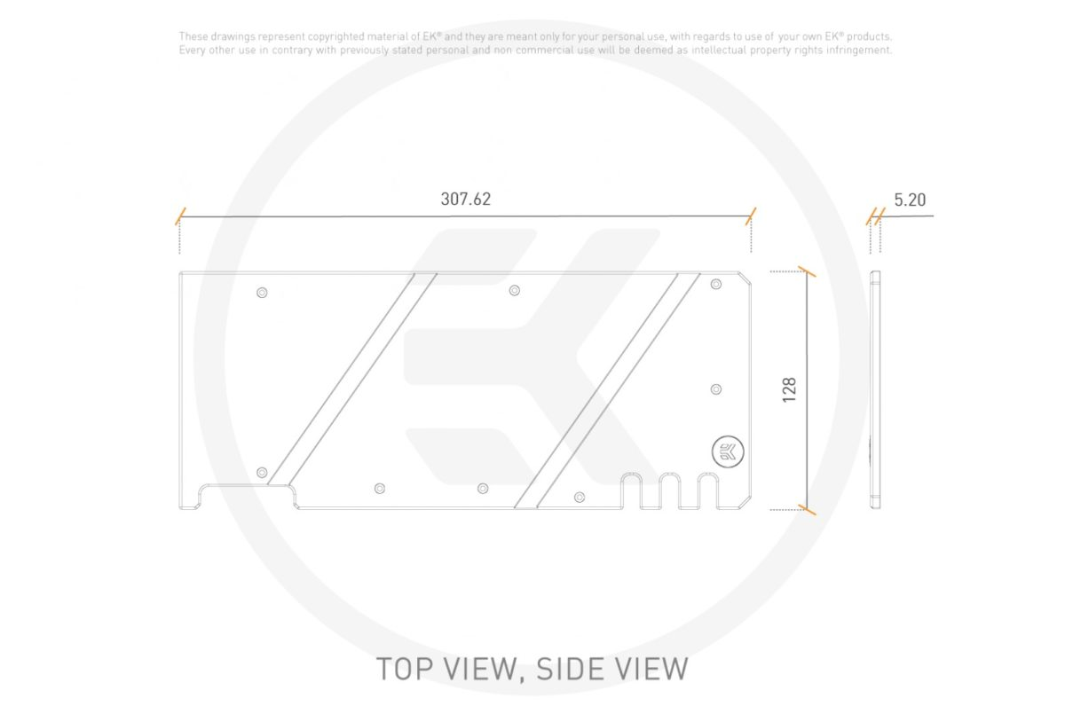 3831109832912 graphical technical drawings gpu ek quantum vector trio rtx 3080 3090 backplate