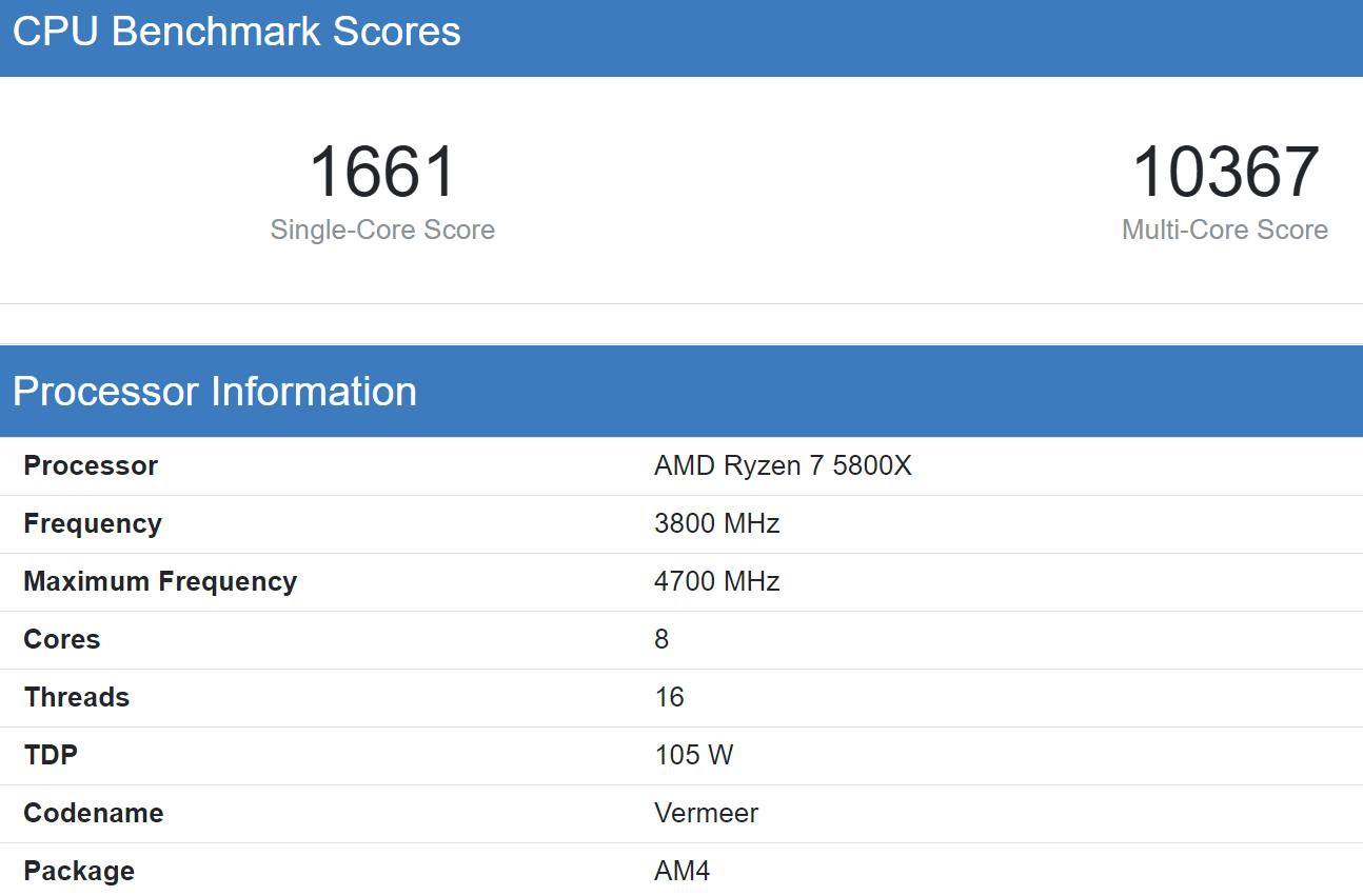 AMD Ryzen 7 5800X Geekbnech 5