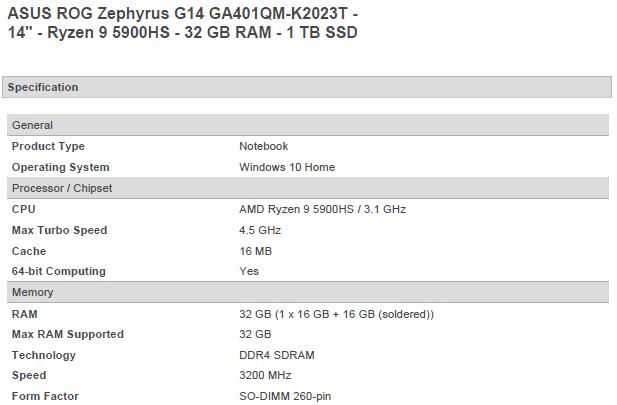 ASUS Rog Zephyrus G14 Ryzen 5900H