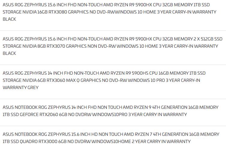 ASUS Zephyrus Cezanne Ampere laptops