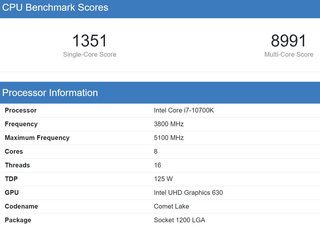 Intel Core i7 10700K Geekbnech 5