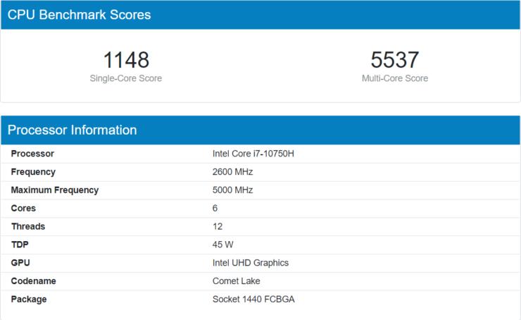 Intel Core i7 10750H Benchmark Geekbench 740x454 1