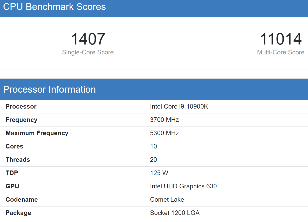 Intel Core i9 10900K Geekbnech 5