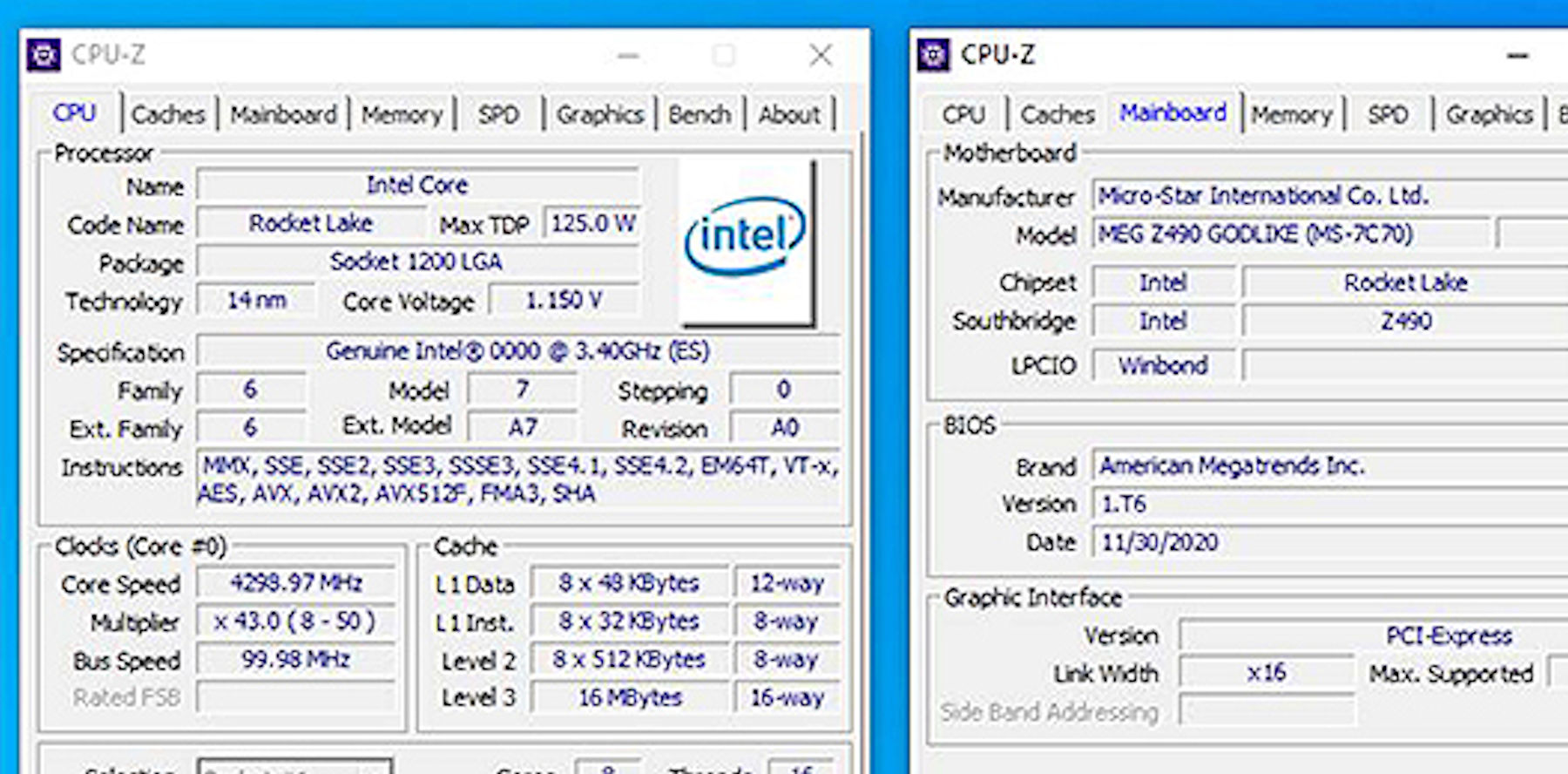 MSI mistakenly reveals 8-core/16-thread Intel Rocket Lake-S CPU-Z specificaitons – VideoCardz.com