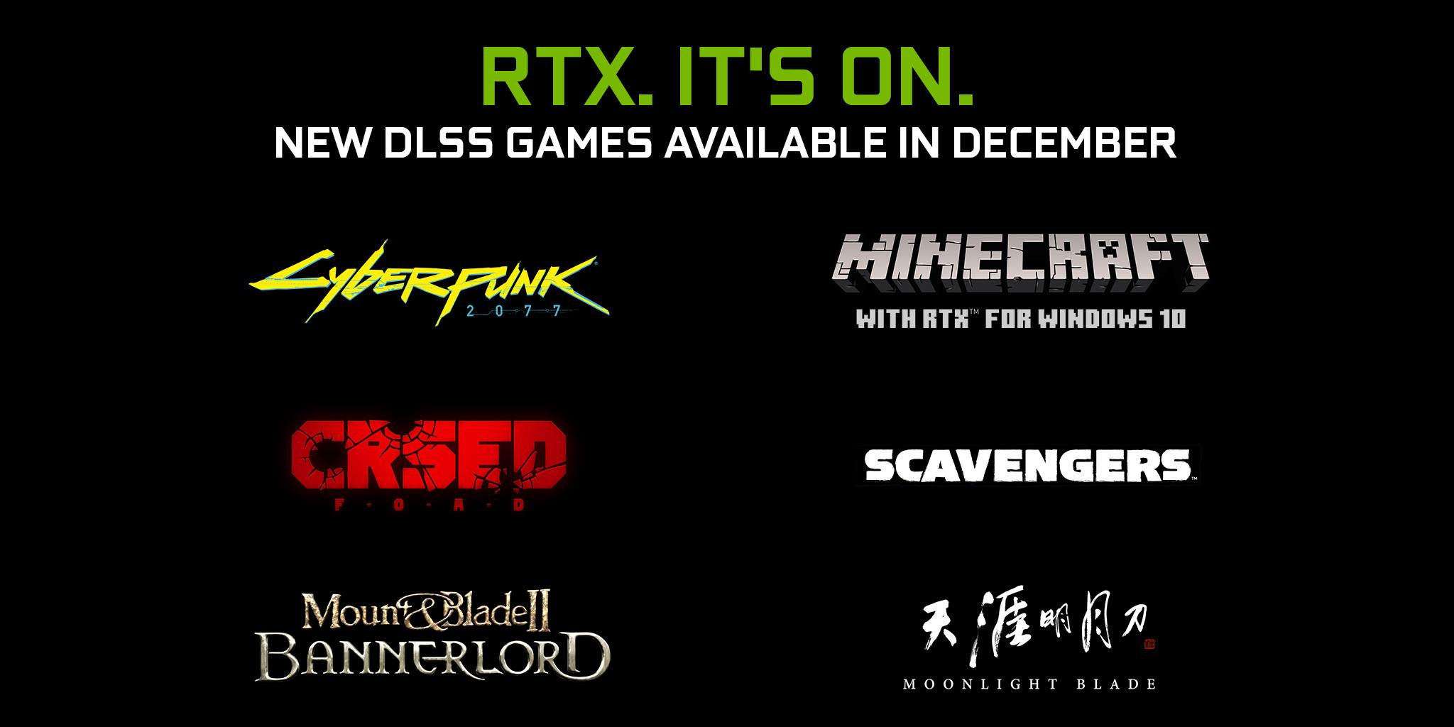 NVIDIA добавляет DLSS в Cyberpunk 2077, Minecraft RTX и 4 других игры