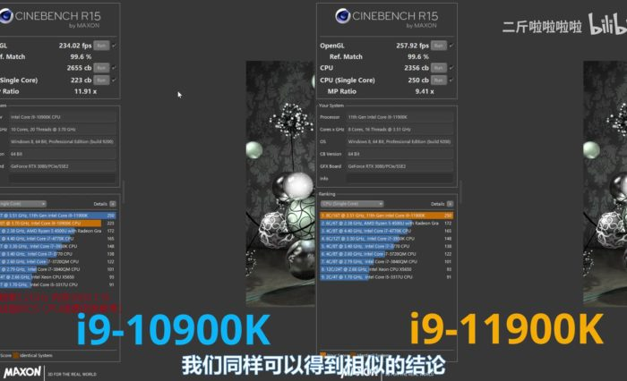 Intel Core i9 11900K Cinebench 1