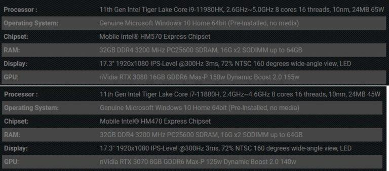Intel 11th Gen Core H Series