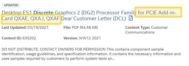 Intel DG2 PCIE Add In Card
