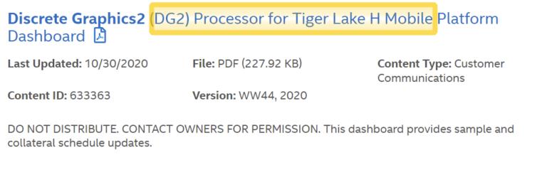 Intel DG2 Tiger Lake H