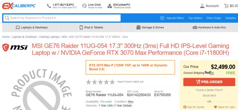 MSI GE76 Raider 11UG 054 17.3 ExcaliberPC