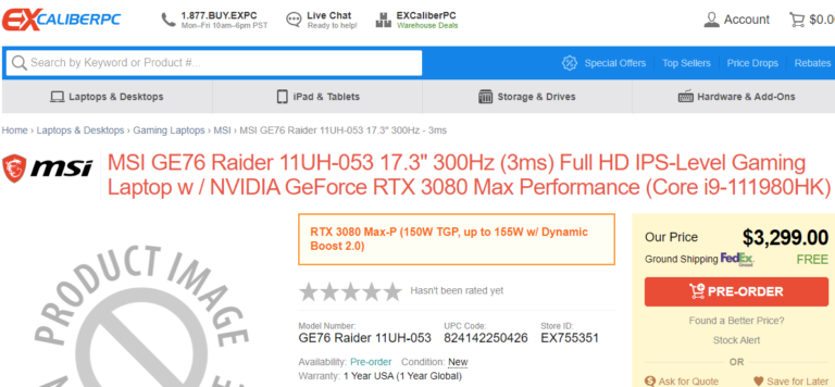 MSI GE76 Raider 11UH 053 ExcaliberPC