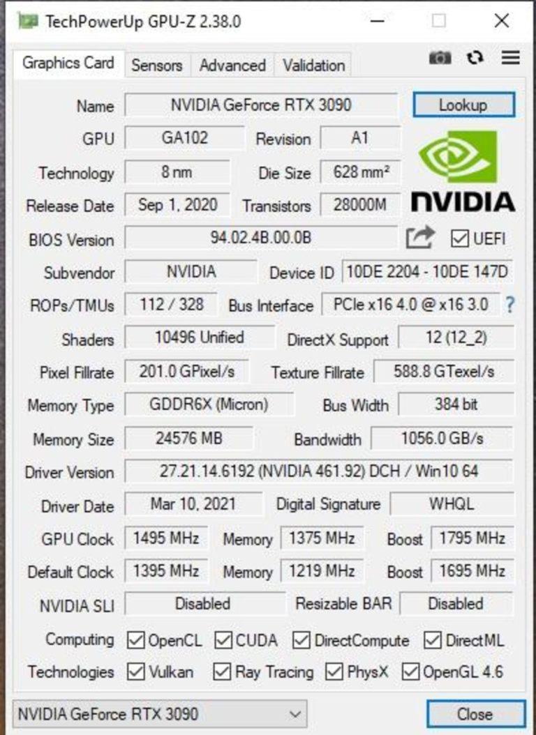 NVIDIA GA102 250 GPUZ