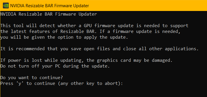 NVIDIA Resizable BAR Firmware Updated