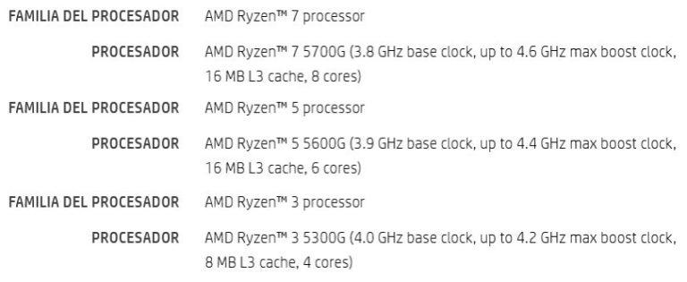 AMD Ryzen 5000G Specifications