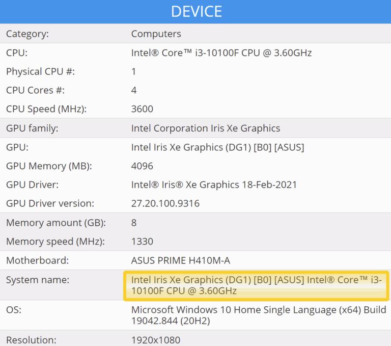 ASUS Intel Iris Xe DG1