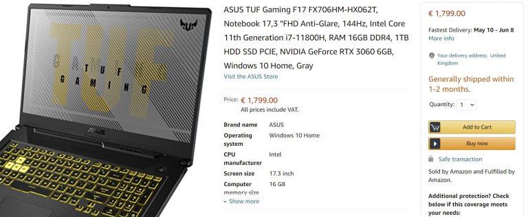 ASUS TUF F17 FX706 Amazon