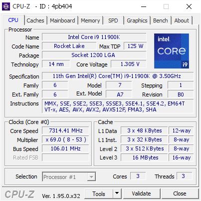 Gigabyte 11900K 7.3GHZ 1