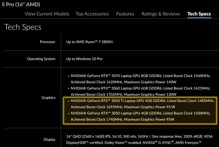 Lenovo GeForce RTX 3050 3050 Ti Specs