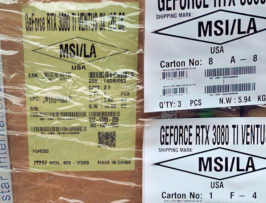 MSI GeForce RTX 3080 Ti Ventus 3X 12GB spotted during transit – VideoCardz.com