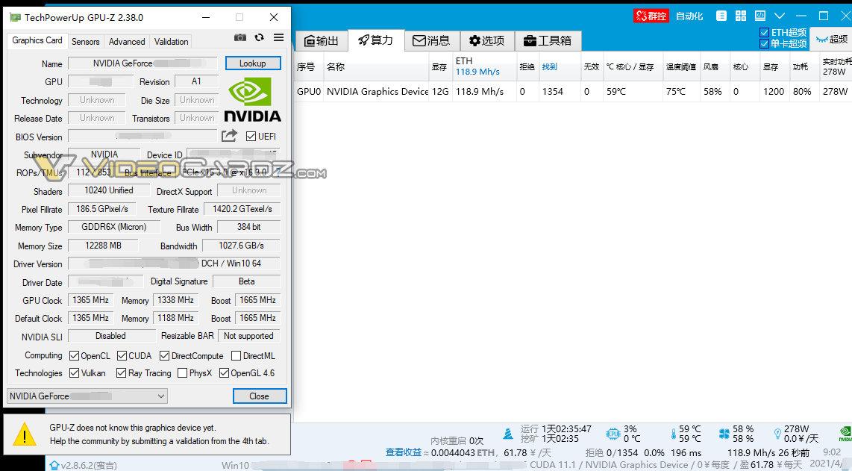 NVIDIA GeForce RTX 3080 Ti ETH Mining