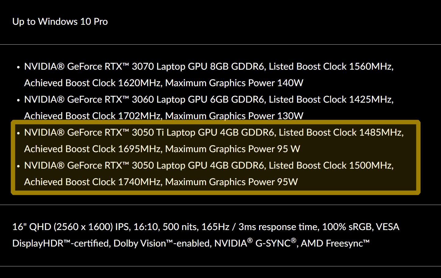 LENOVO confirms GeForce RTX 3050 Ti and RTX 3050 Laptop GPUs TGP and clocks – VideoCardz.com