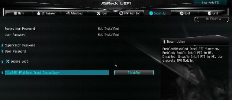 ASRock BIOS Intel