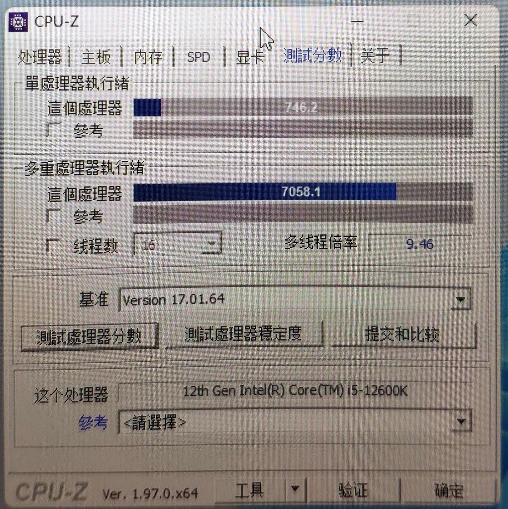 [情報] i5-12600K CPUZ vs5600X單核+20%多核+47%